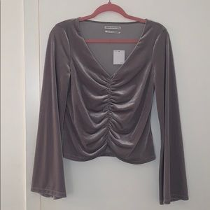 Urban Outfitters Marie Cinched V-Neck Velvet Top